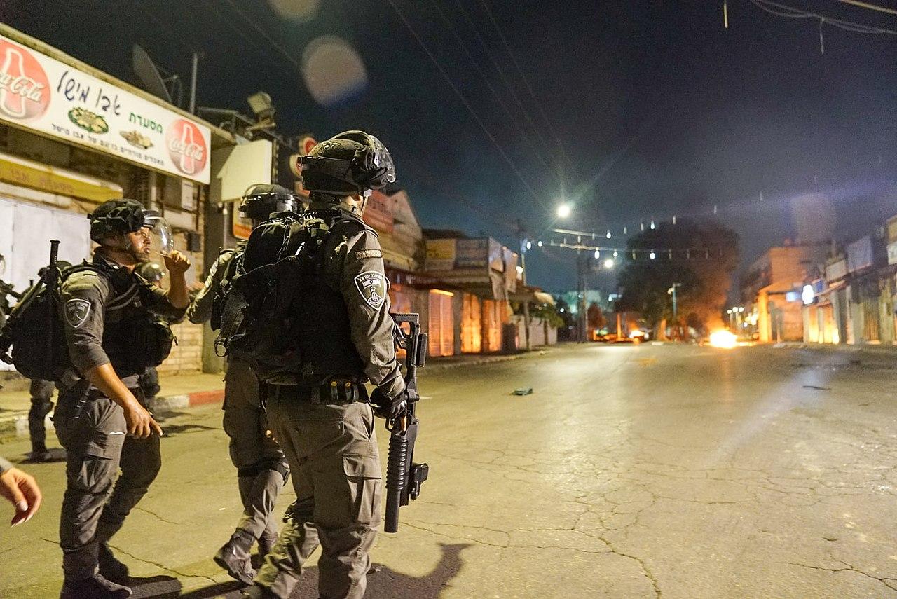 Israeli police officers in Lod, Israel, 11 May